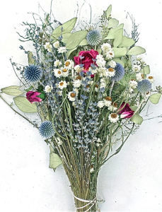 Missoula, Montana dried Flower arrangement. Dried Lavendar, echinops, roses, dried eucalyptus and ammodium