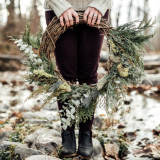 Large winter wreath for delivery in Missoula, Montana made with grapevine, sage, cedar and eucalyptus