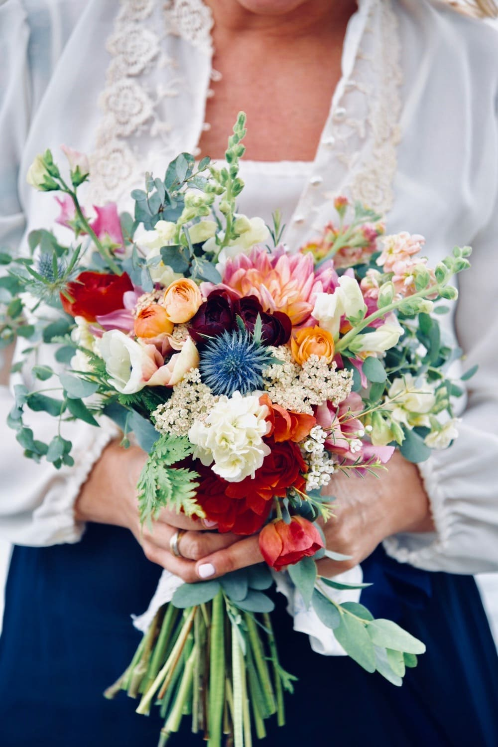 bright red, white and blue bouquet