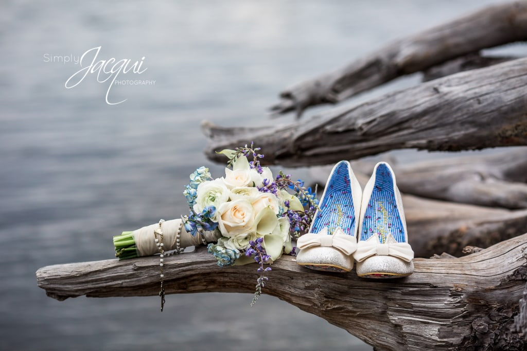 Simply Jacqui Photography featuring Missoula, Montana spring bridal bouquet and white shoes