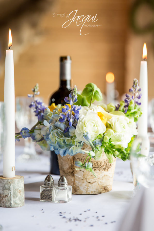 Missoula, MT Flowers. Missoula, Montana spring wedding flowers with birch bark vase and mountain lupine, roses and hydrangea