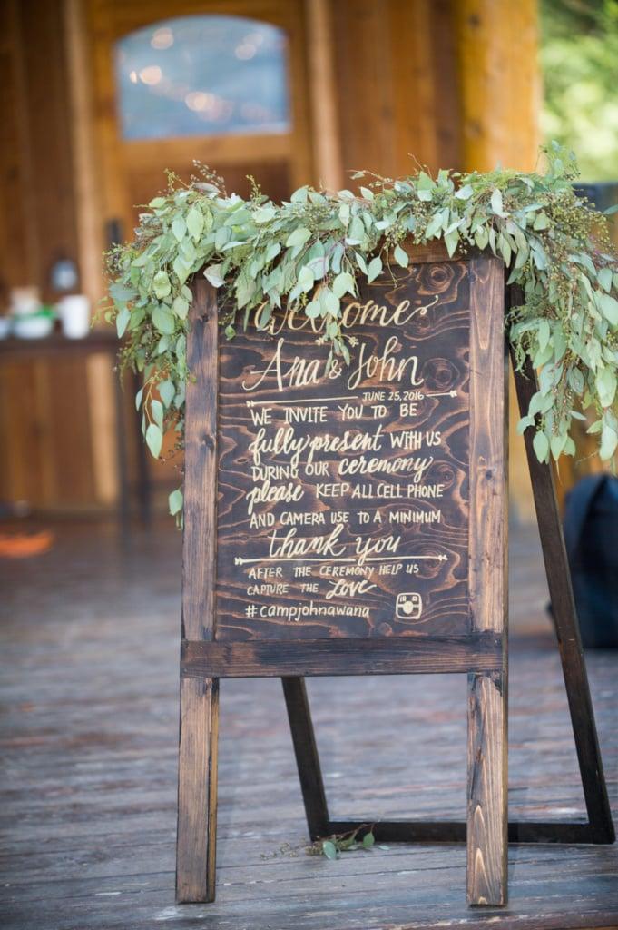 Camp Jonawana Missoula, MT Wedding Flowers. Montana Eucalyptus, eucalyptus gardland teepee alter at Tarkio RIver Lodge