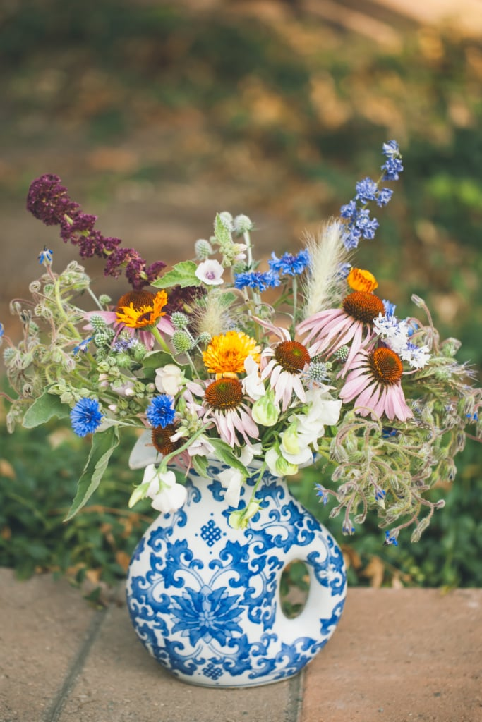 summer flower arrangement for delivery in Missoula, Montana with echinacea, calendula, borage and amaranth