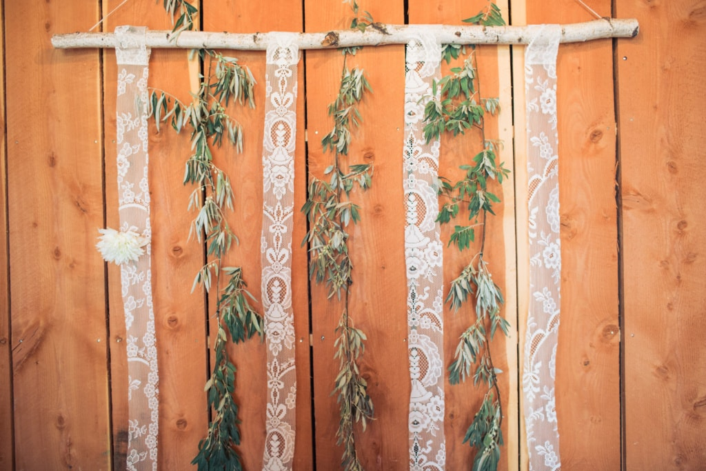Birch bark with olive branches hanging wedding installation, Missoula, MT at the Ranch Club for a Rocky Mountain School of Photography Photo Shoot