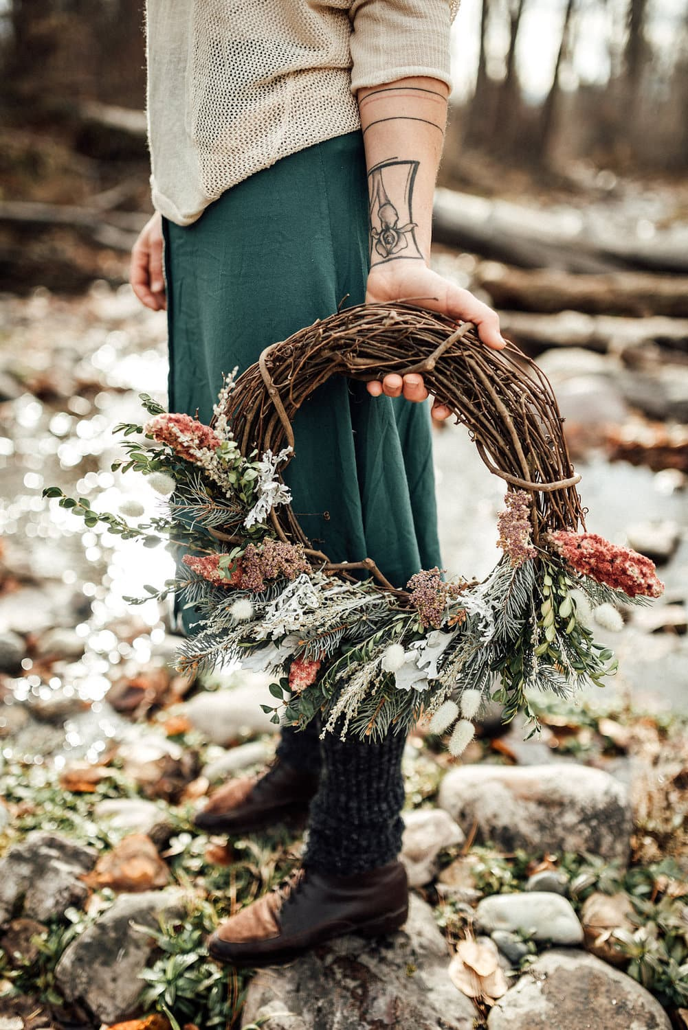 winter wreath made in missoula, Montana with local grapevine, sage, cedar and sumac