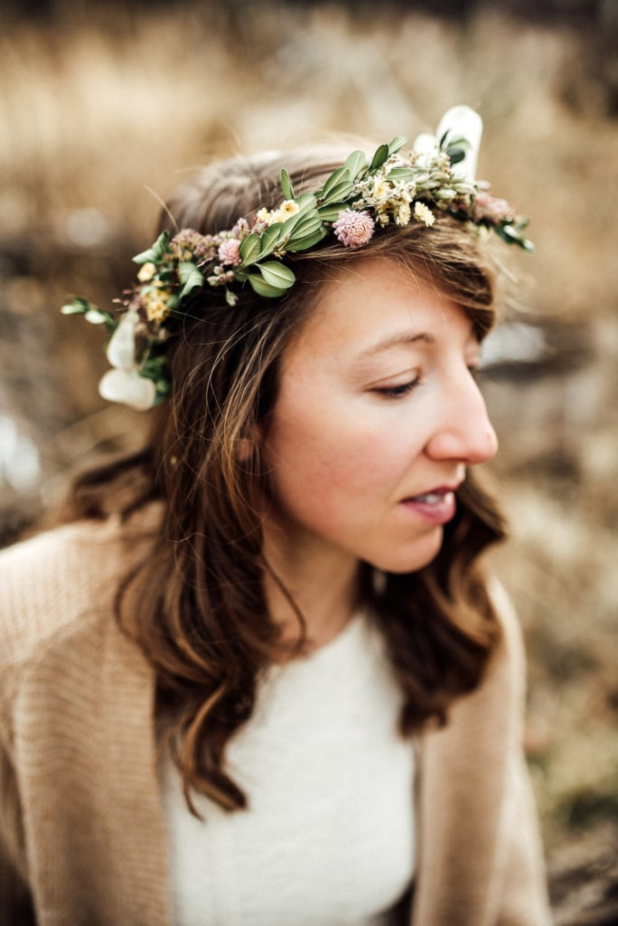 women wearing a dried flower crown made in Montana