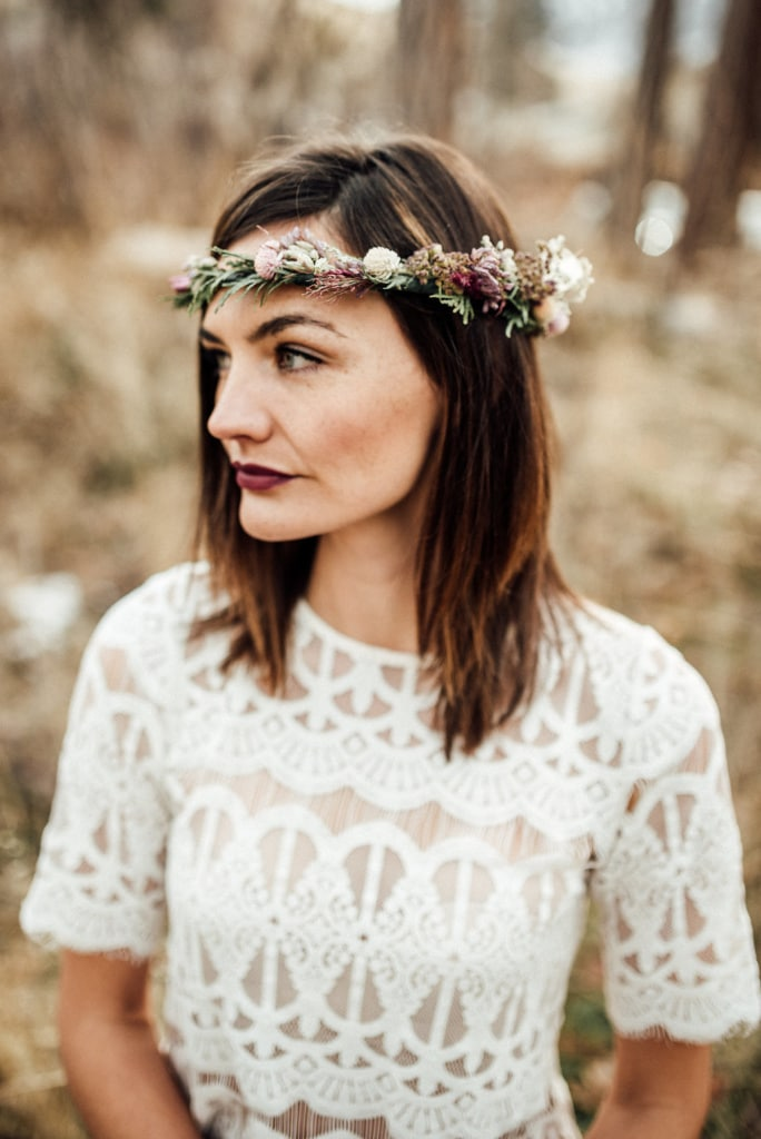 woman wearing a dried flower crown made in Montana