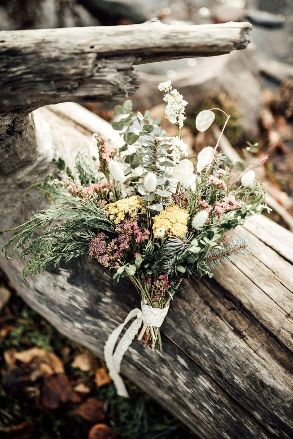 dried wedding bouquet made with local montana flowers