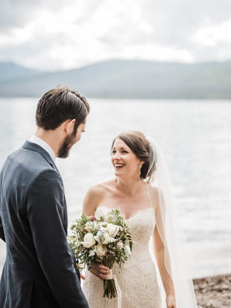 Wildflower bouquet with bride and groom at a elegant glacier national park wedding