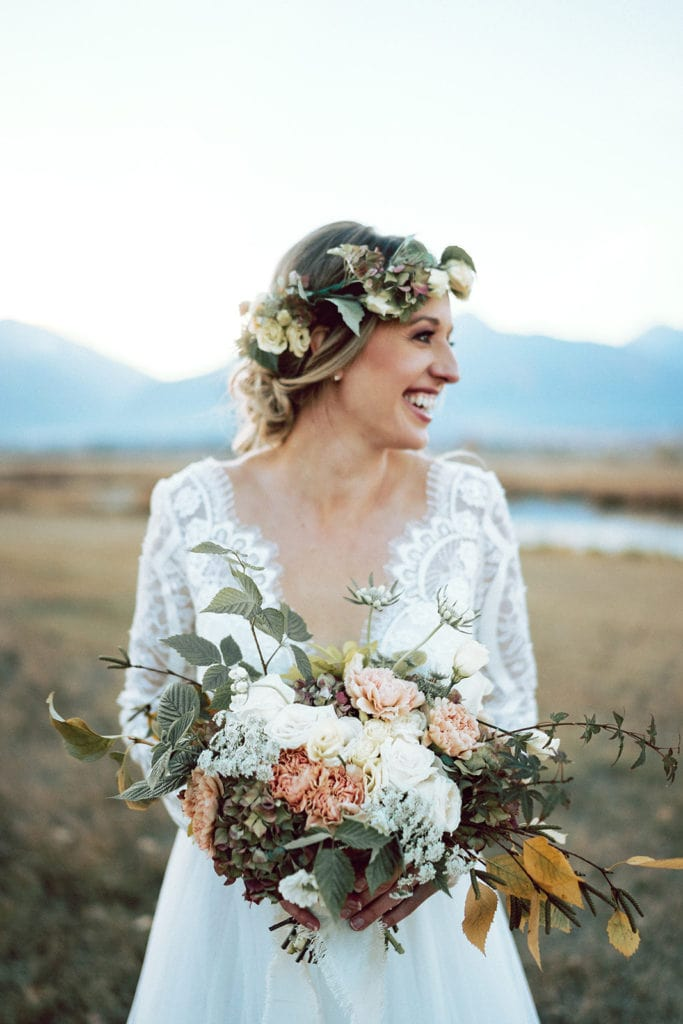 Horizontal wedding bouquet shapes in Missoula, Montana