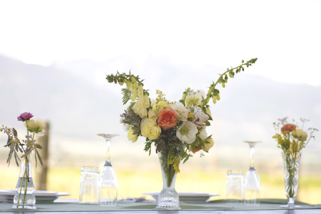 montana ranch wedding, ranunculus, wildflowers