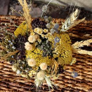 yellow mixed dried arrangement