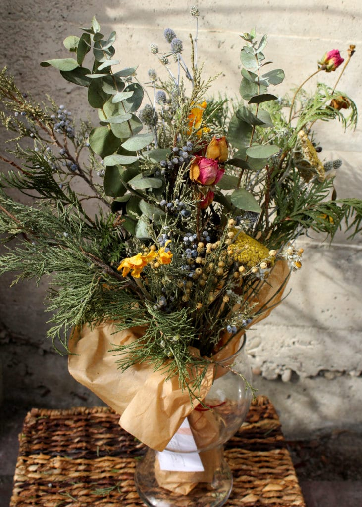 dried flower bouquet with herbs