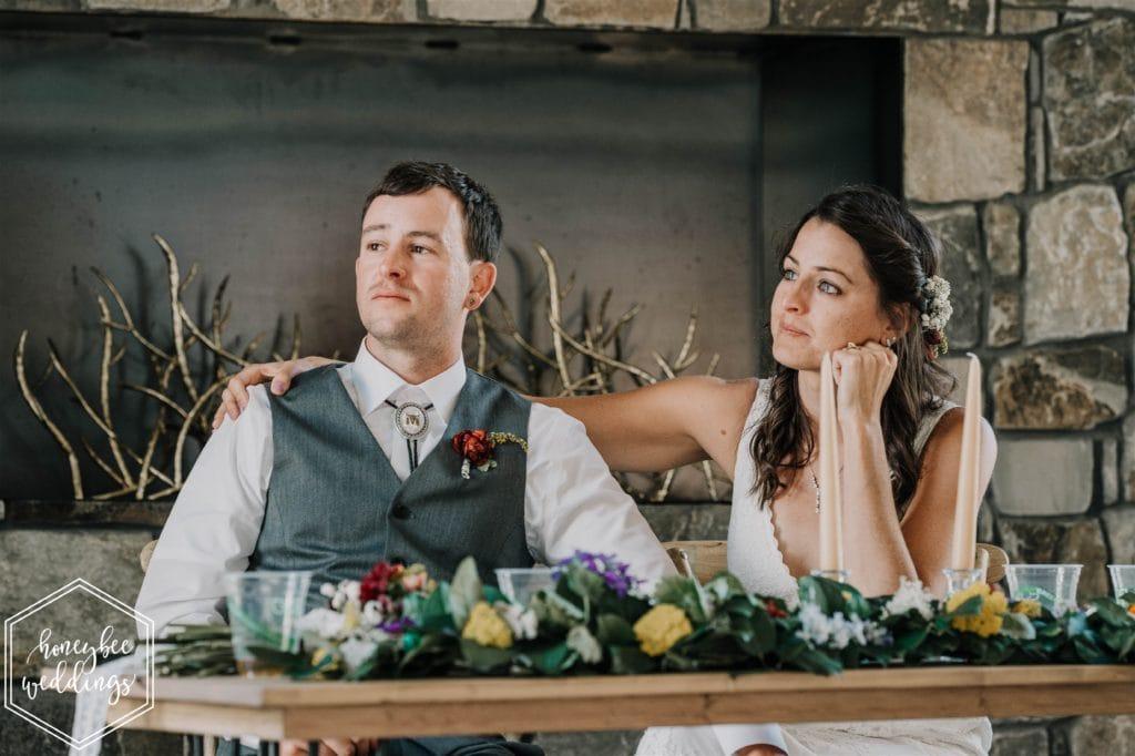 head table centerpiece at wedding near Missoula, Montana