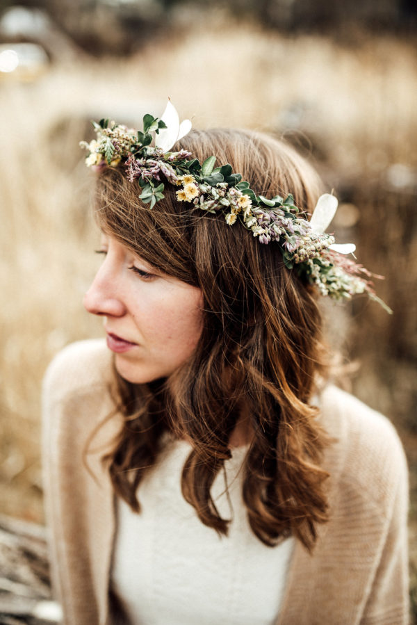 Dried flower crown made in Missoula, MT