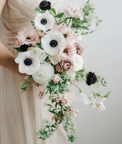 Cascading wedding bouquet shapes in Missoula, Montana