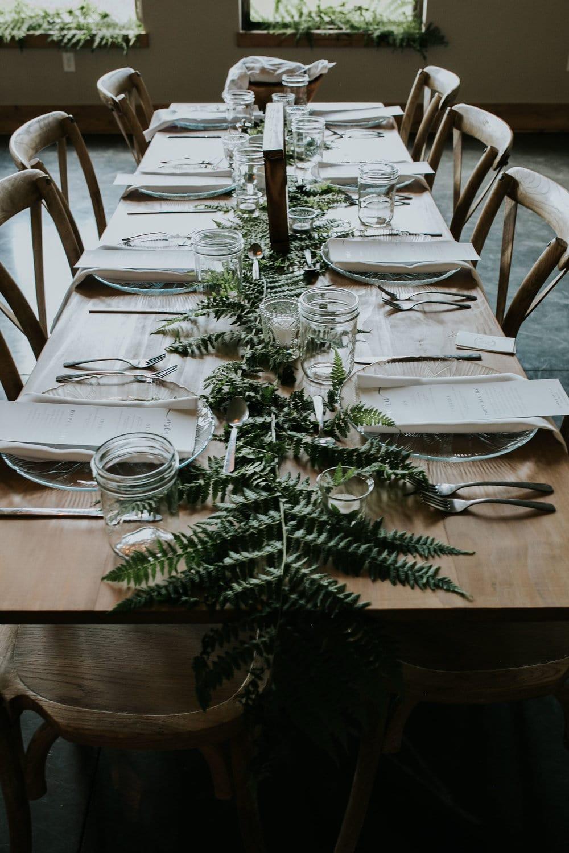 Greenery wedding table decor in Missoula, Montana