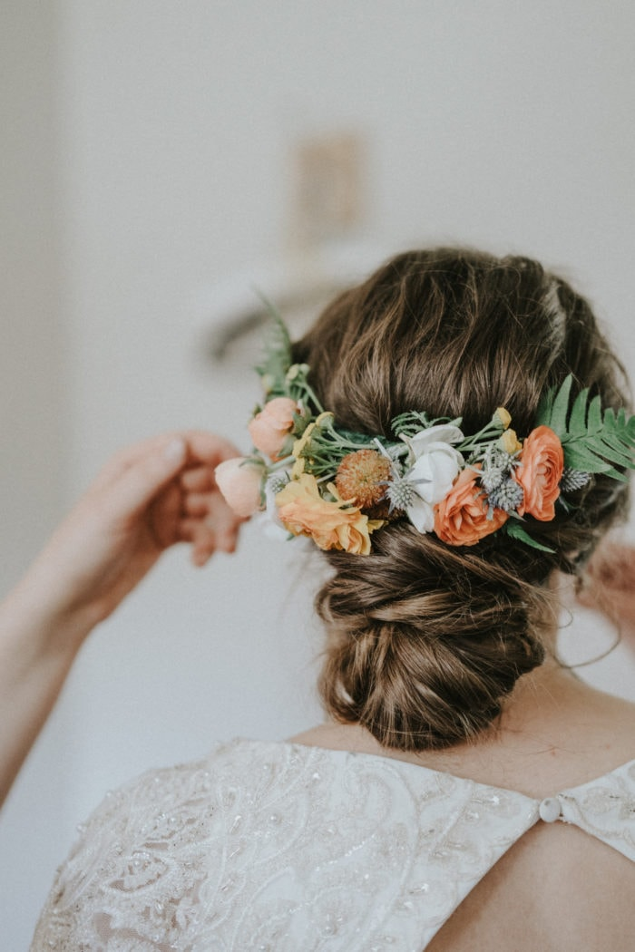dreamy flower crown by Montana florist