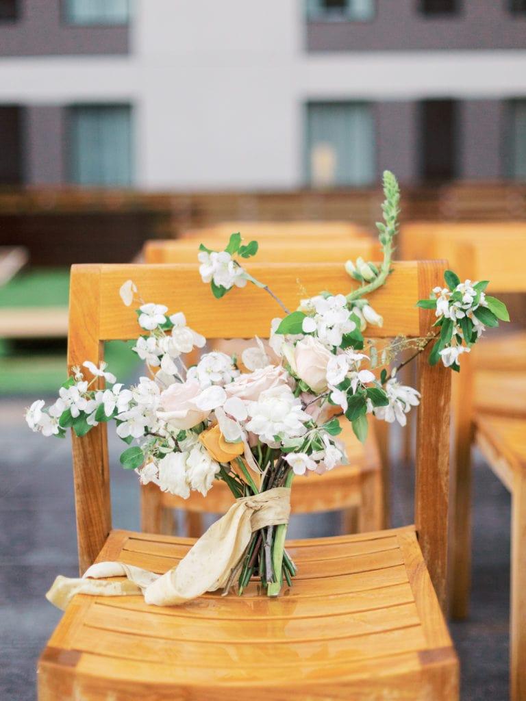 Small wedding bouquet at montana wedding venue