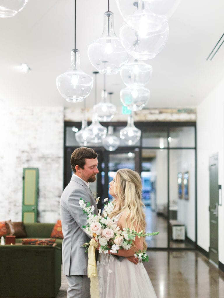 Birde and groom inside Missoula wedding venue