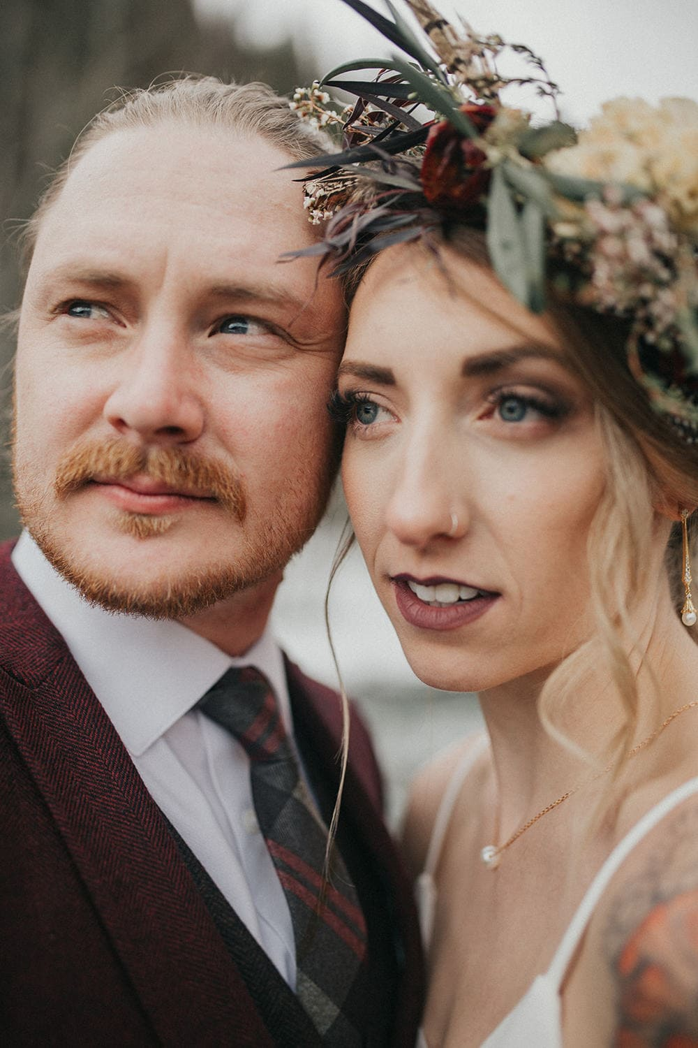 Closeup photo of bride and groom
