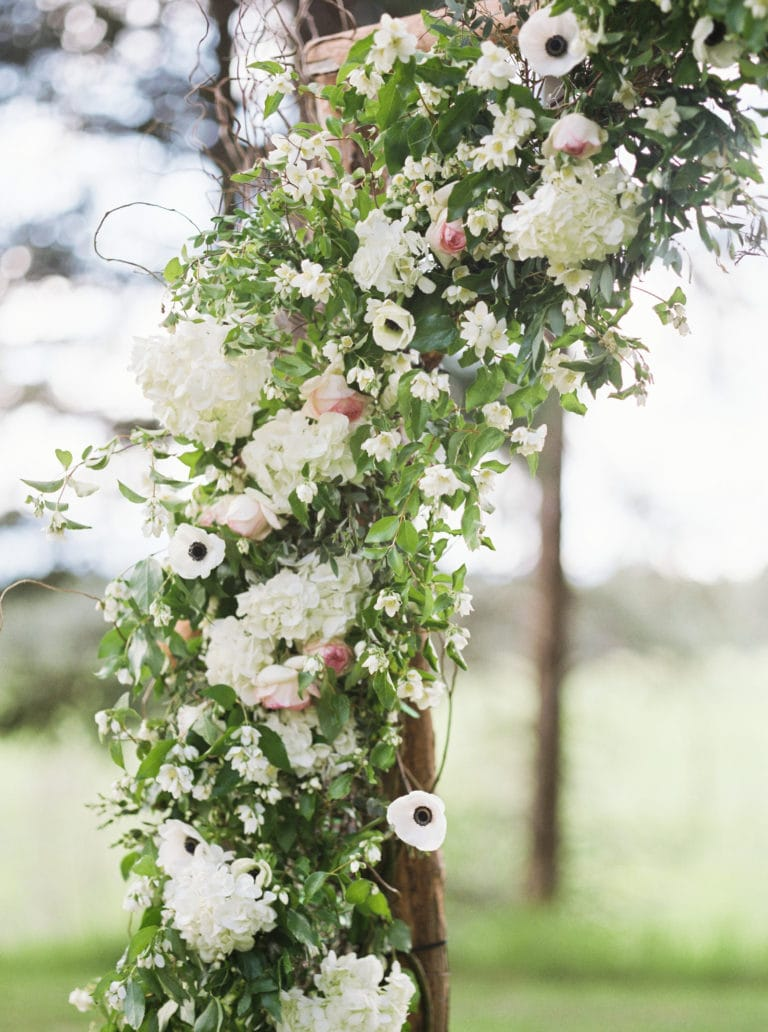 Close-up photo of detail on wedding arch