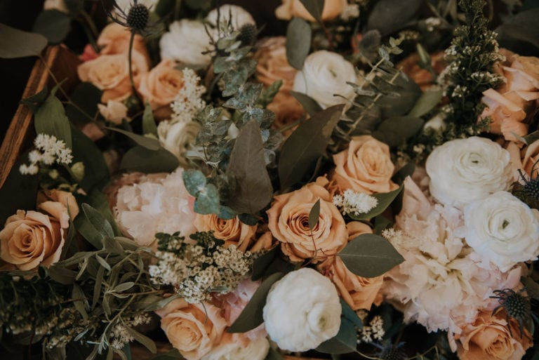 closeup of bouquet designed by montana florist