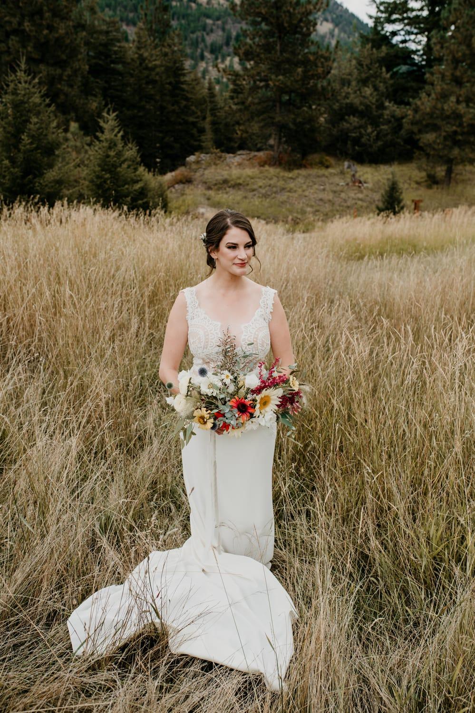 montana bride holding bouquet