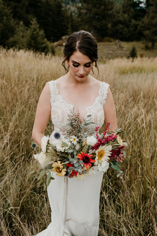 close-up of montana bride holding bouquet
