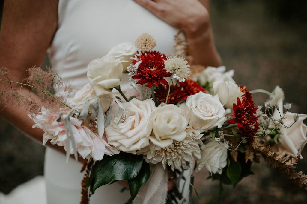 bride holding missoula florist bridal bouquet
