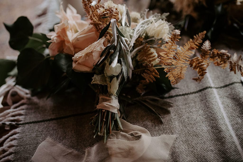 detailed shot of bridesmaid bouquet