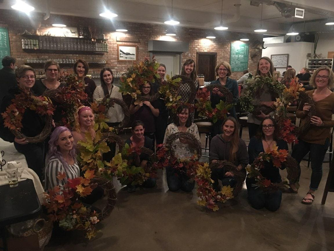 diy wreath workshop attendees