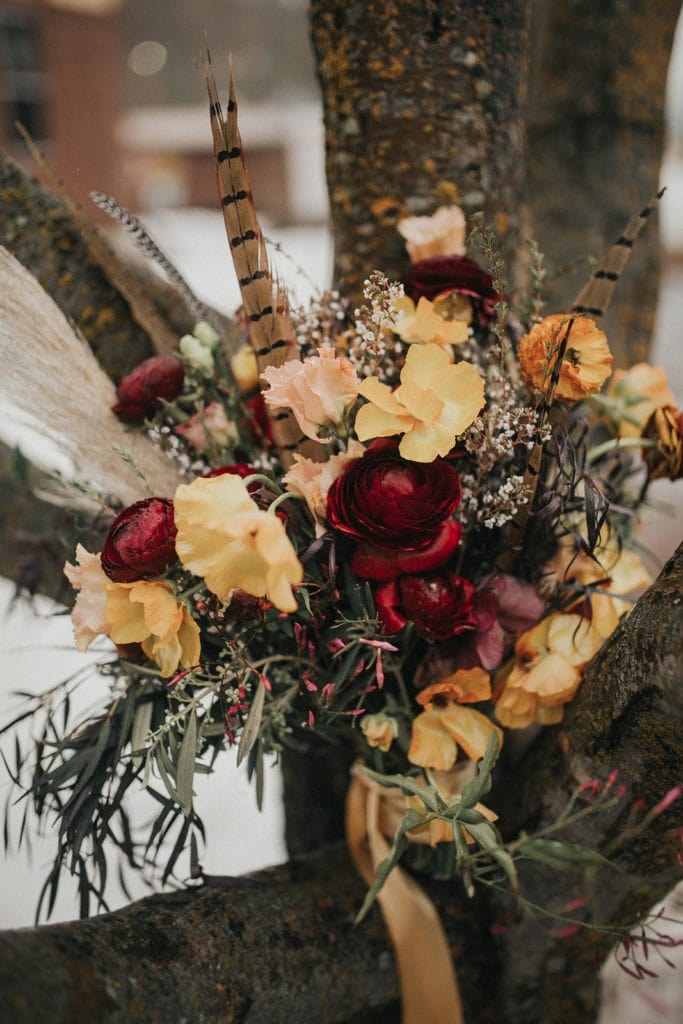 Moody bouquet designed by Montana florist