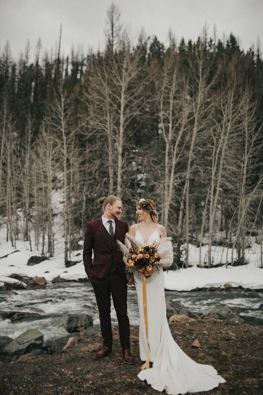 Bride and Groom at Glacier National Park